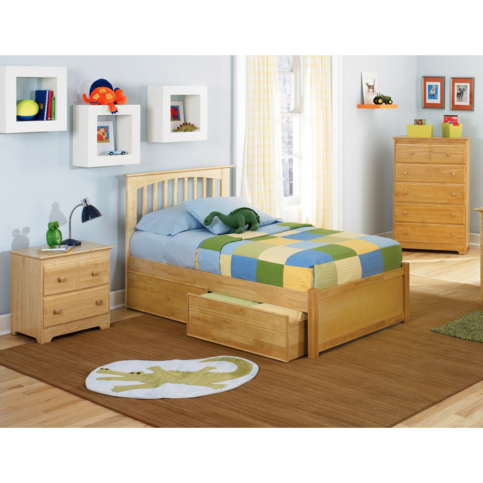 Brooklyn Twin Bed w/ Flat Panel Footboard and Drawers - ATL-BTBFPFRPD
