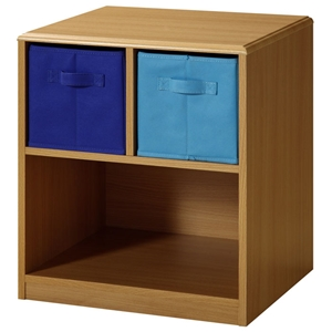 Boys Nightstand - Beech Finish, Navy and Light Blue Drawers