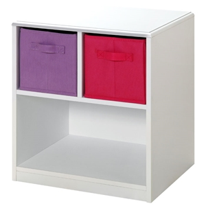 Girl%27s Nightstand - White, Pink & Purple Canvas Drawers
