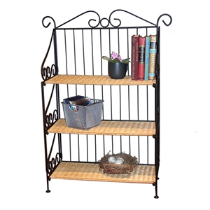 3 Tier Wicker and Metal Bookcase