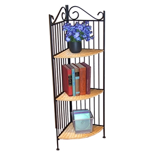 Wicker and Metal 3 Tier Corner Bookcase