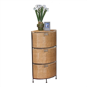 Corner 3 Drawer Unit in Wicker and Metal