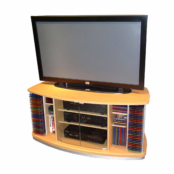 Beech TV Stand with DVD Racks