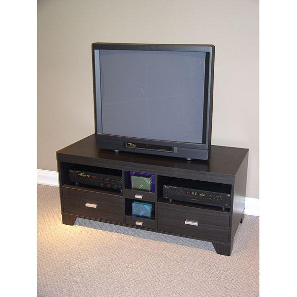 Large 47 Black Woodgrain Tv Stand Dcg Stores