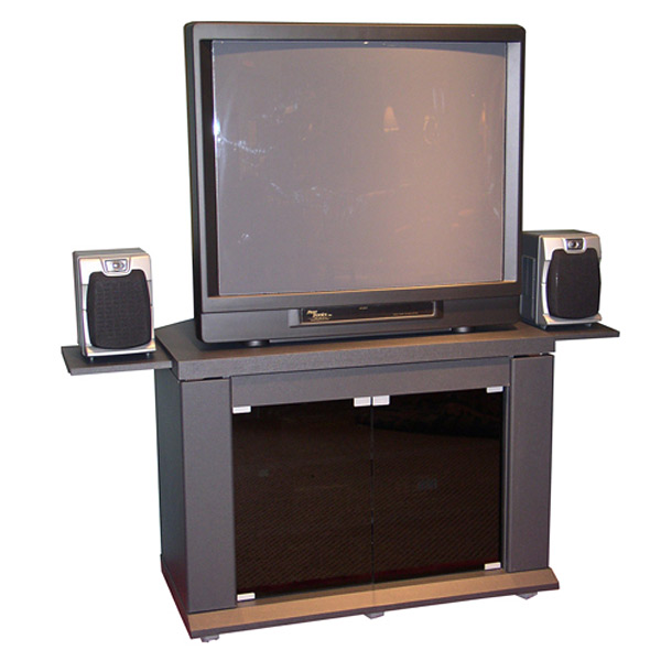 Charcoal TV Stand with Speaker Shelves