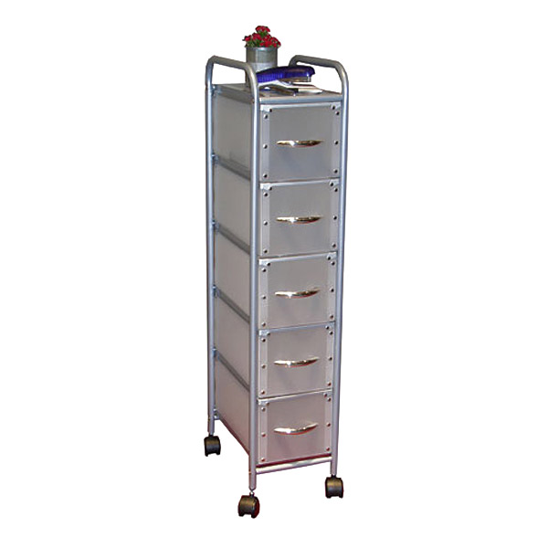 Silver Rolling Storage Tower with 5 Large Drawers