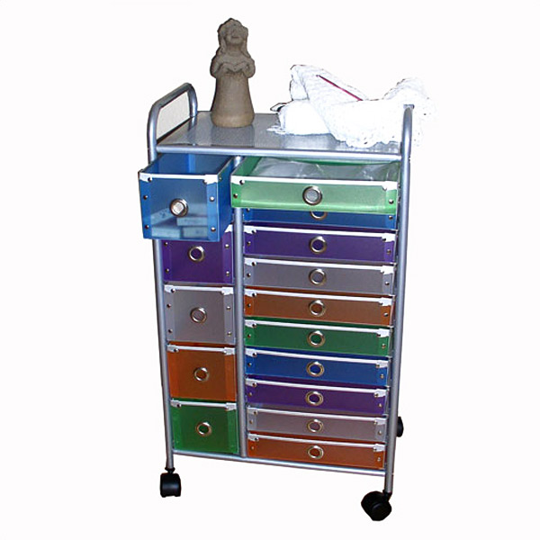 15 Drawer Multi-Colored Rolling Storage Tower