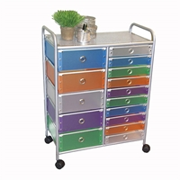 Multi-Colored 15 Drawer Rolling Storage Tower