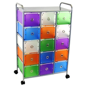 Multi-Colored 15 Drawer Storage Unit - Metal, Casters