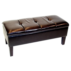 Blackstone Storage Bench - Brown, Button Tufted