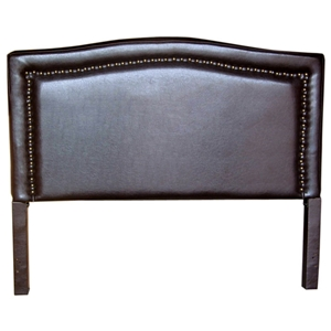 Virgina Camelback Headboard - Brown, Nailheads