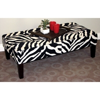 Large Zebra Print Coffee Table - Fabric Upholstery, Tapered Legs