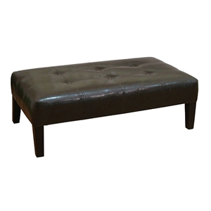 Large Faux Leather Ottoman Coffee Table in Brown
