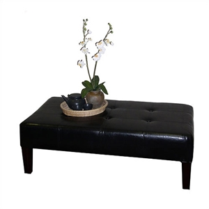 Large Faux Leather Coffee Table Ottoman in Black