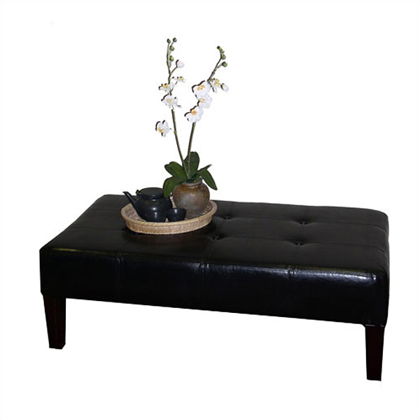 Large faux leather coffee table ottoman in black dcg stores Black ottoman coffee table