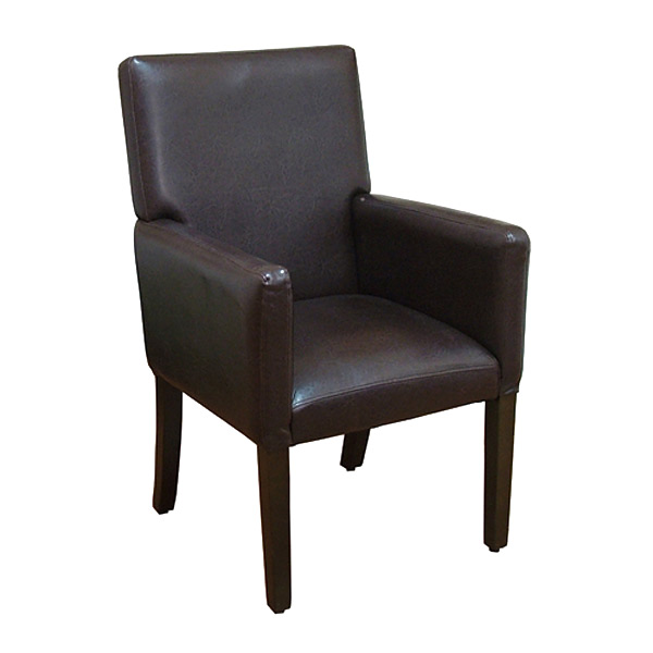 Deluxe Brown Faux Leather Arm Chair