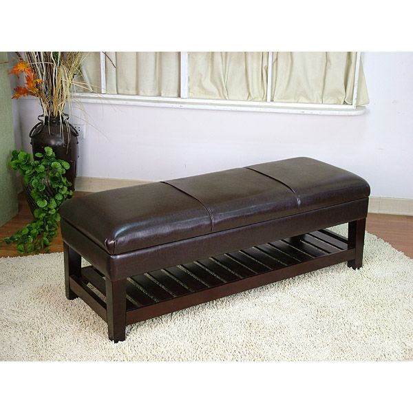 Large Faux Black Leather Bench Ottoman with Storage