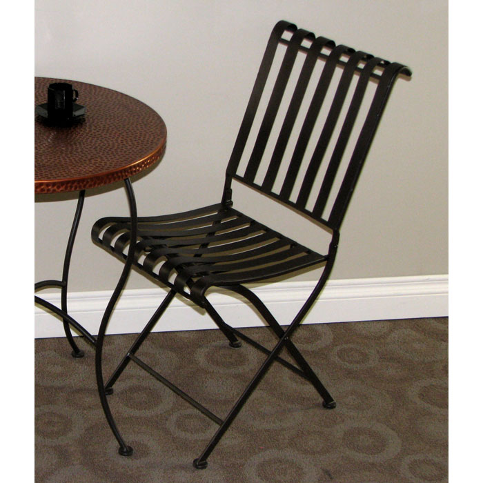 Rolled Metal Folding Chair Powder Coated Brown