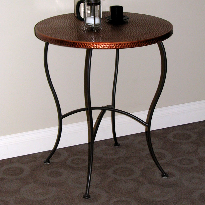 Hammered Metal Round Table - Powder Coated Brown, Copper Top