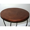 Hammered Metal Round Table - Powder Coated Brown, Copper Top - 4DC-55974