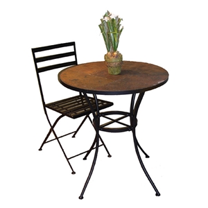 Round Slate Top Bistro Table