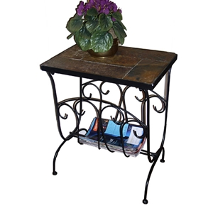 Magazine End Table w/ Slate Top