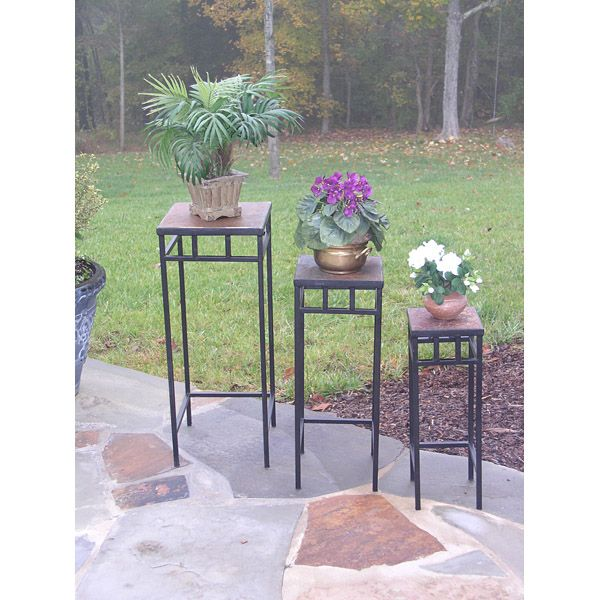 3 Piece Slate Square Plant Stands w/ Slate Tops - 4DC-601623