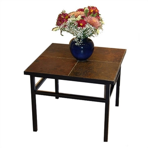 Square Slate Top End Table