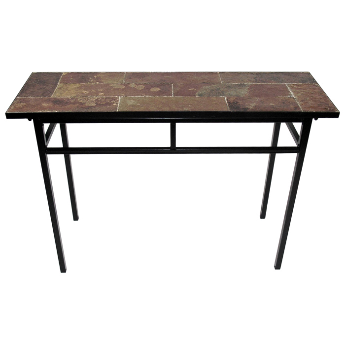 Slate Top Sofa Table   Black Metal Base