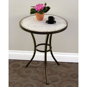 Travertine Round Top End Table - Metal, Antique Tuscany Base