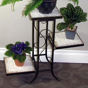 3-Tier Plant Stand - Travertine Top, Metal Base