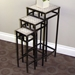 3-Piece Square Plant Stands - Travertine Tops, Metal Bases - 4DC-605823
