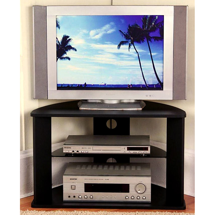 Corner Tv Stand Black Glass Shelf Dcg Stores