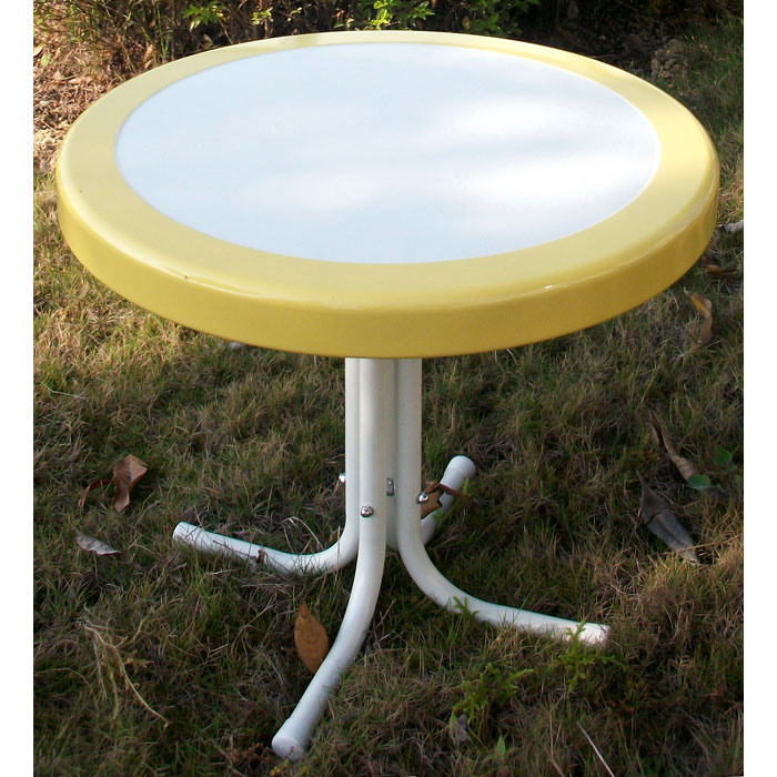 Retro Metal Round Side Table White Amp Yellow Dcg Stores