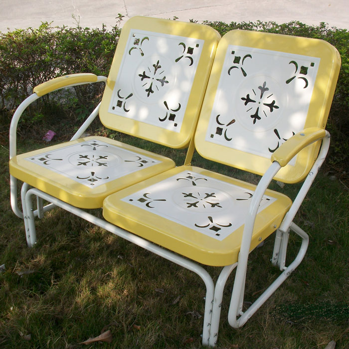 Retro Metal Glider White Amp Yellow Armrests Dcg Stores