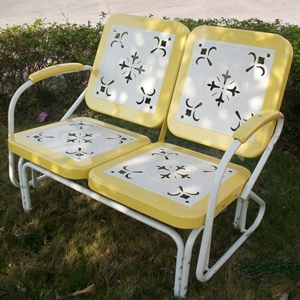 Retro Metal Glider - White & Yellow, Armrests