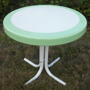 Retro Metal Round Side Table - White & Lime Green