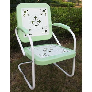 Retro Metal Outdoor Chair - White & Lime Green, Sled Base