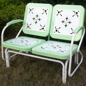 Retro Metal Glider - White & Lime Green, Armrests