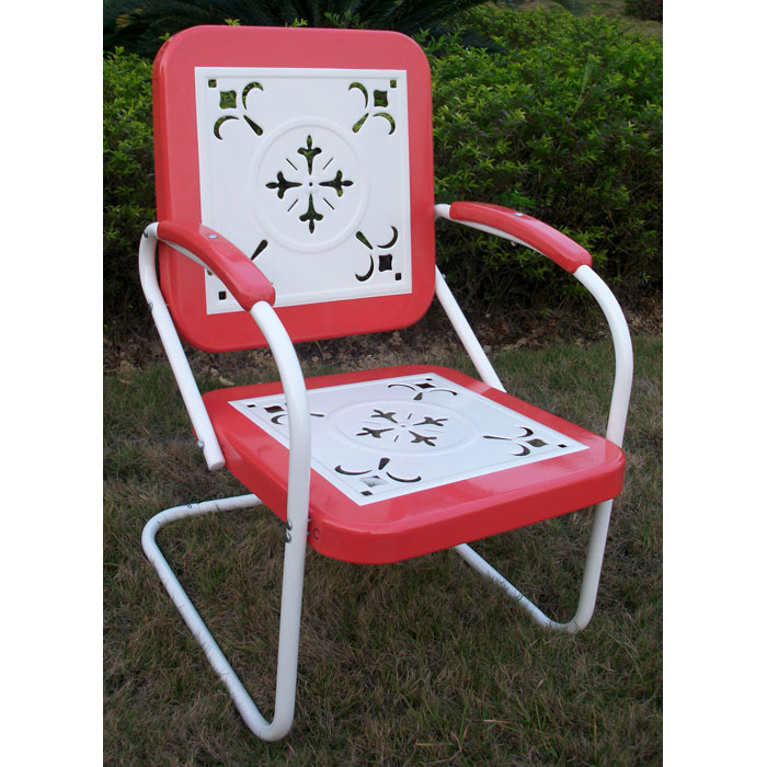 Retro Metal Outdoor Chair - White & Red Coral, Sled Base - 4DC-71540