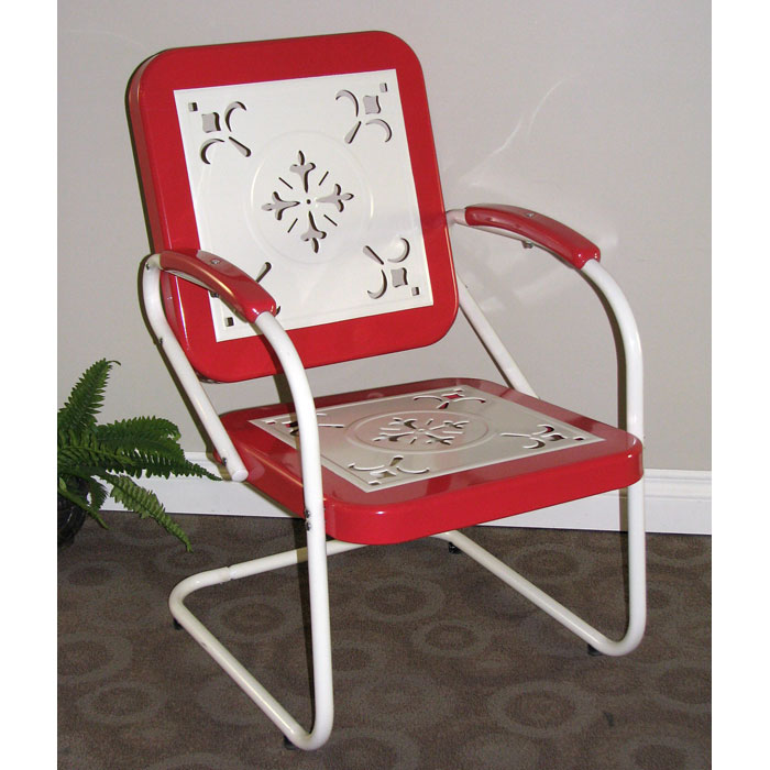 ... Retro Metal Outdoor Chair   White U0026 Red Coral, Sled Base   4DC 71540