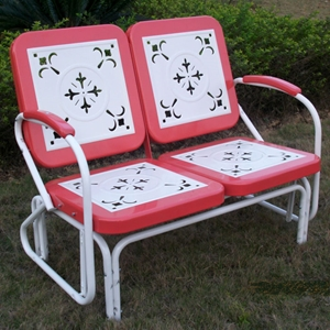 Retro Metal Glider - White & Red Coral, Armrests