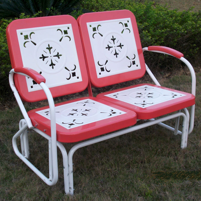 Retro Metal Glider - White & Red Coral, Armrests - 4DC-71550