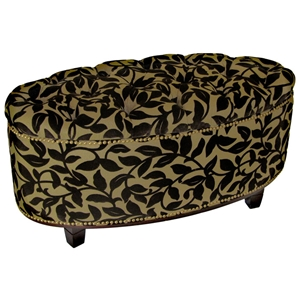 Ora Oval Storage Ottoman - Brown Flock, Tufted, Brass Nailheads