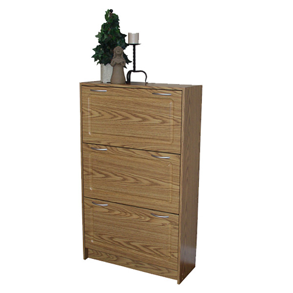 Deluxe Triple Shoe Cabinet in Oak - 4DC-76153