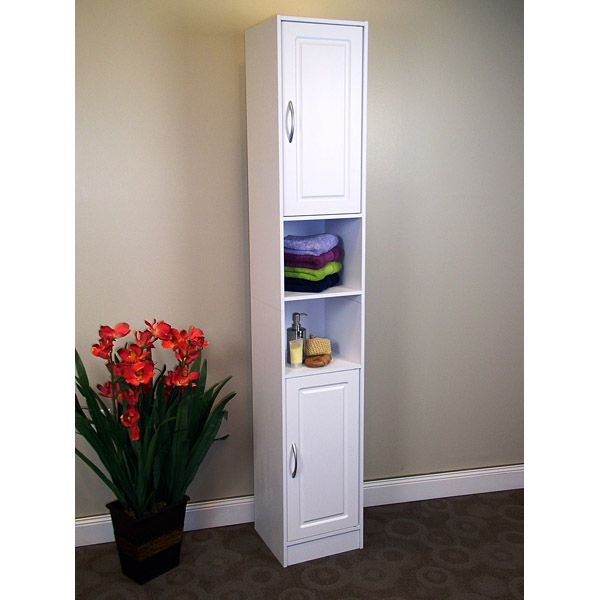 Narrow White Storage Cabinet