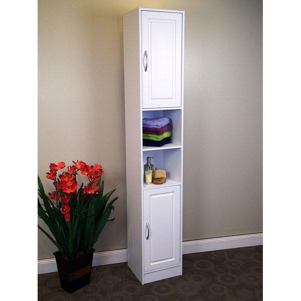 Narrow White Storage Cabinet
