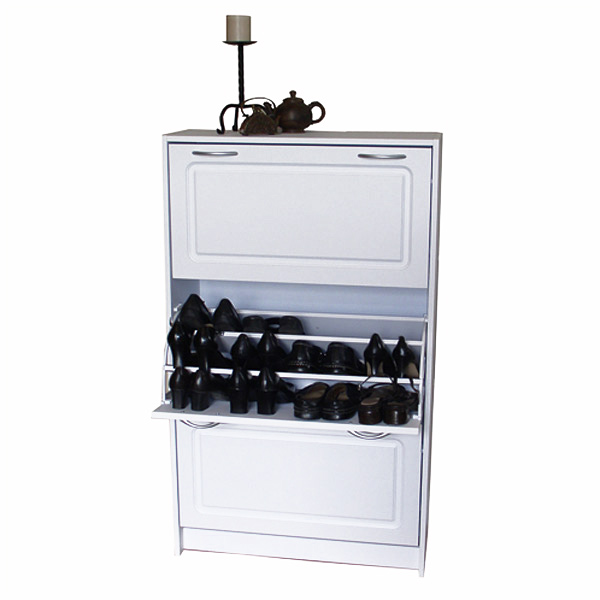 Deluxe Triple Shoe Cabinet White Finish