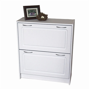 Deluxe Double Shoe Cabinet in White