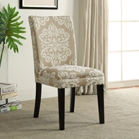 Itaki Parsons Chair - Taupe & Ivory Fabric, Espresso Wood Legs